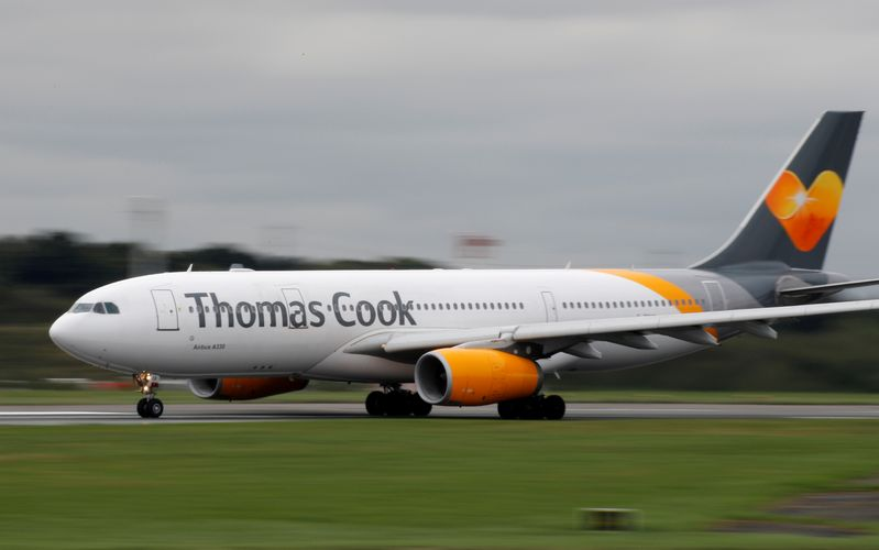 A Thomas Cook Airbus A330 aircraft prepares to take off from Manchester Airport