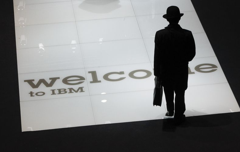 A man visits stand of US firm IBM