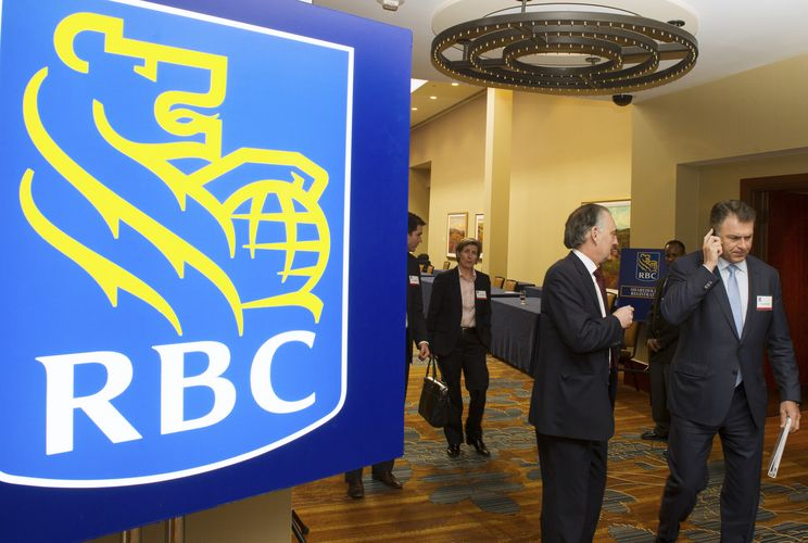 Shareholders leave the Royal Bank of Canada's (RBC) Annual General Meeting in Calgary, Alberta
