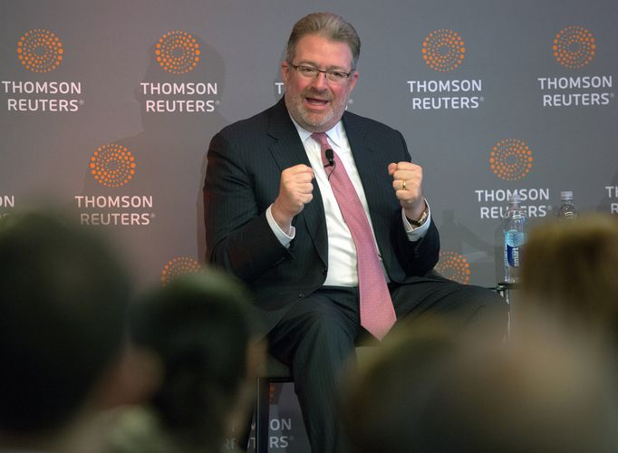 Thomson Reuters Chief Executive Jim Smith speaks about the deal with Blackstone Group in Toronto