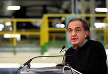 Fiat-Chrysler chief executive Sergio Marchionne makes a speech at the Fiat car factory in the southern city of Melfi